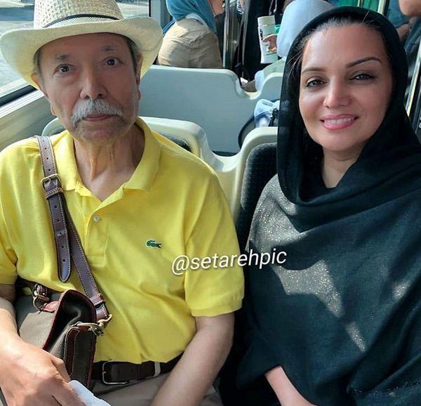 الهم پاوه نژاد و پیشکسوت سینما در اتوبوس + عکس