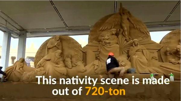۷۲۰ تن ماسه برای ساخت مجسمه تولد حضرت عیسی در واتیکان