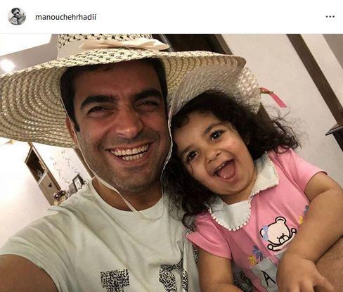 حال خوب منوچهر هادی با دخترش + عکس