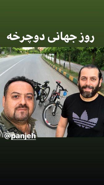 دوچرخه سواری آفای بازیگر با دوستش + عکس