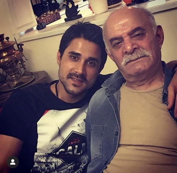 مرحوم سیروس گرجستانی در کنار پسرش + عکس