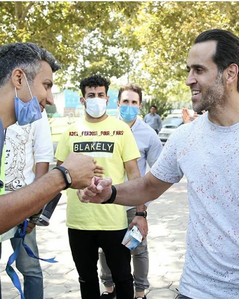 خوشو بش عادل فردوسی پور با فوتبالیست مشهور + عکس