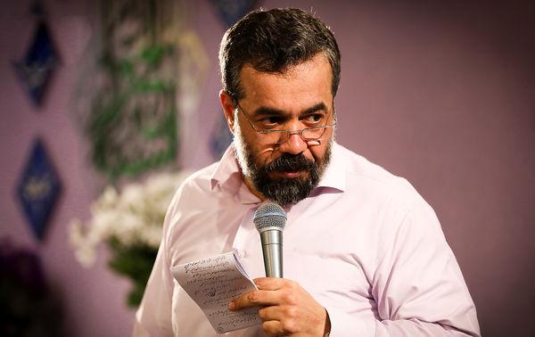 مداحی محمود کریمی در مراسم تدفین برادرِ حاج منصور ارضی