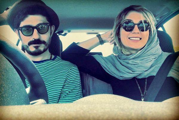 خانم بازیگر و همسرش در ماشینشان+عکس