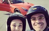 رویا نونهالی و همسرش در پیست ماشینسواری + عکس