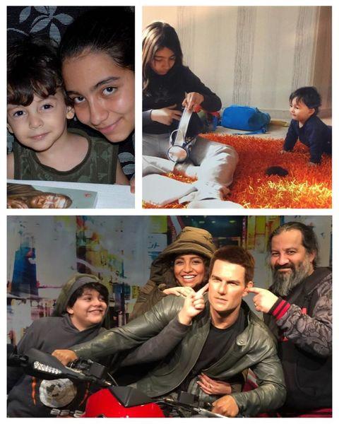 عکس مهراب قاسمخانی و فرزندانش با هنرپیشه معروف هالیوودی