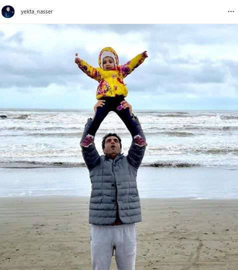منوچهر هادی و دخترش لب آب + عکس