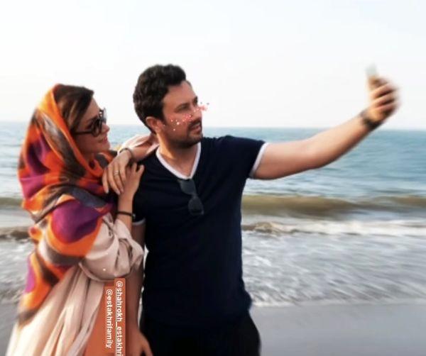 سلفی گرفتن شاهرخ استخری و همسرش لب آب + عکس