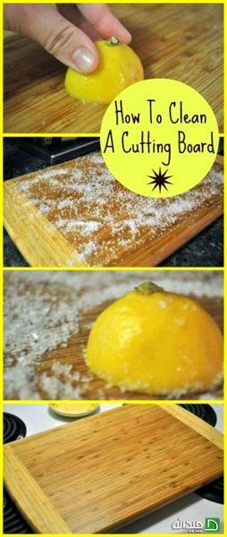 تمیز کردن تخته اشپزخانه با لیمو