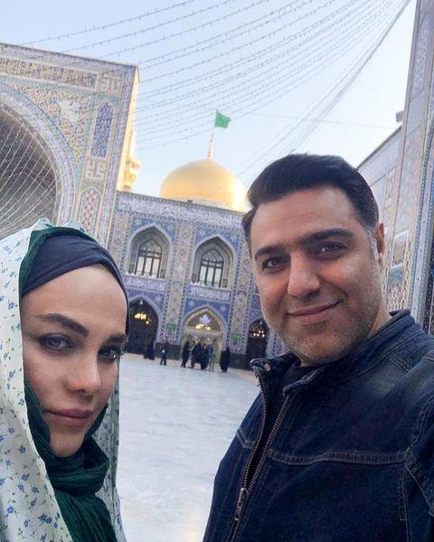 نرگس آبیار و همسرش در حرم امام رضا (ع) + عکس