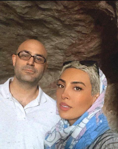 گشت و گذار حدیثه تهرانی و همسرش در غار + عکس