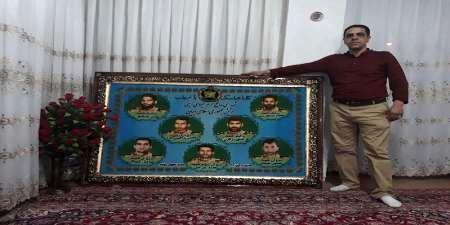 تابلو فرش تصاویر شهدای حرم در مهاباد رونمایی شد