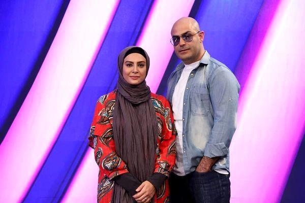 حدیثه تهرانی و همسرش در برنامه تلویزیونی + عکس