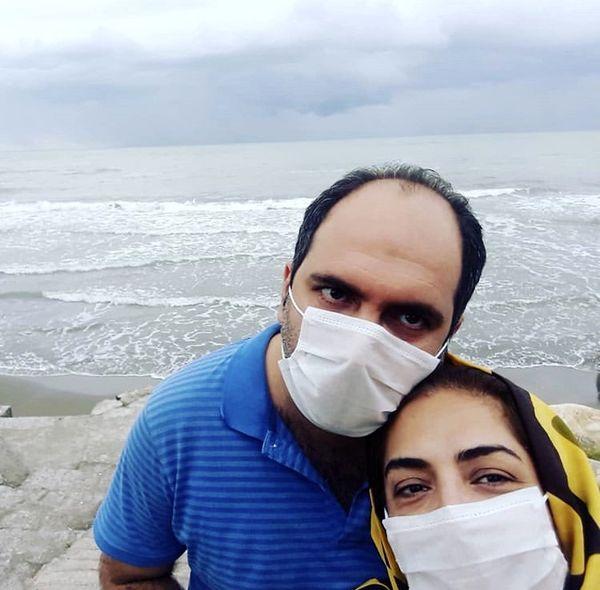 ساناز سماواتی و همسرش لب دریا + عکس