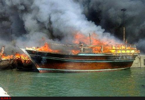 آتش سوزی لنج صیادی در بندرک کنارک+فیلم