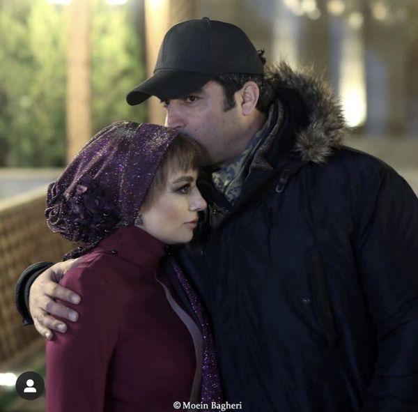 بوسهمنوچهر هادی ویکتا ناصر در پشت صحنه دل + عکس