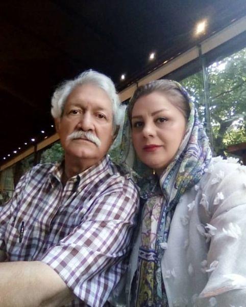 آقای بازیگر پیشکسوت و همسر جوانش+عکس