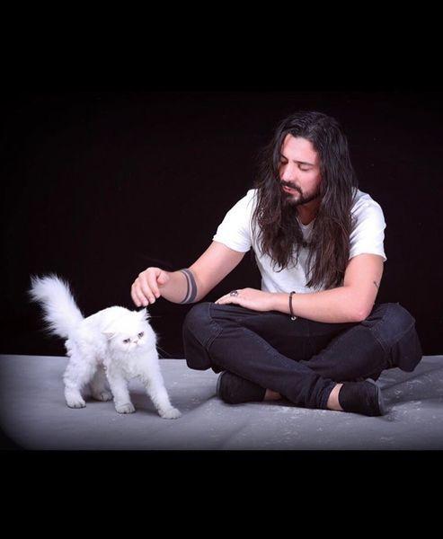 گربه پشمالو و سفید آقای خواننده + عکس