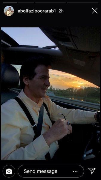 ابوالفضل پورعرب در ماشین شخصی اش + عکس