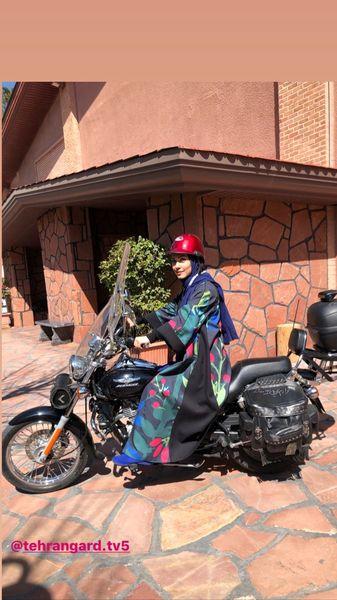 موتورسواری خانم بازیگر + عکس
