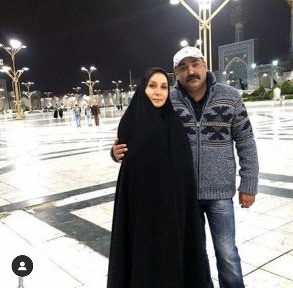 زوج بازیگر مشهور در حرم امام رضا(ع) + عکس