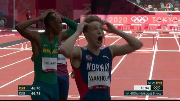 واکنش عجیب ورزشکار نروژی پس از شکستن رکورد المپیک 2021 + عکس