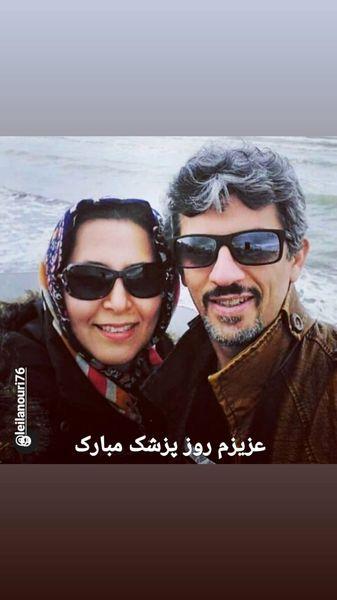 سیروس همتی و همسرش کنار دریا + عکس