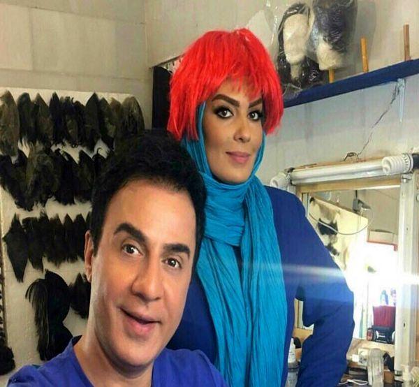 عمو پورنگ و خانم بازیگر با موهای قرمز+عکس