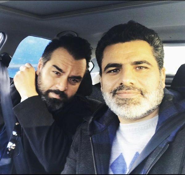 سلفی شهرام قائدی با دوستش در ماشین + عکس