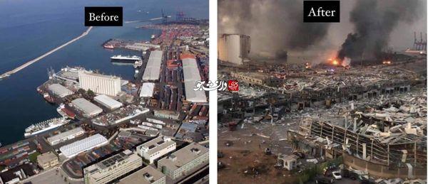 بندر بیروت قبل و بعد از انفجار شدید