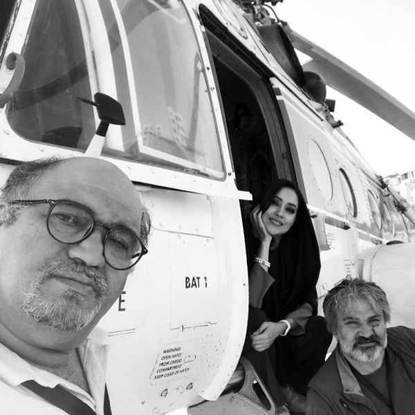 هلیکوپتر سواری بهاره کیان افشار با آقایان بازیگر
