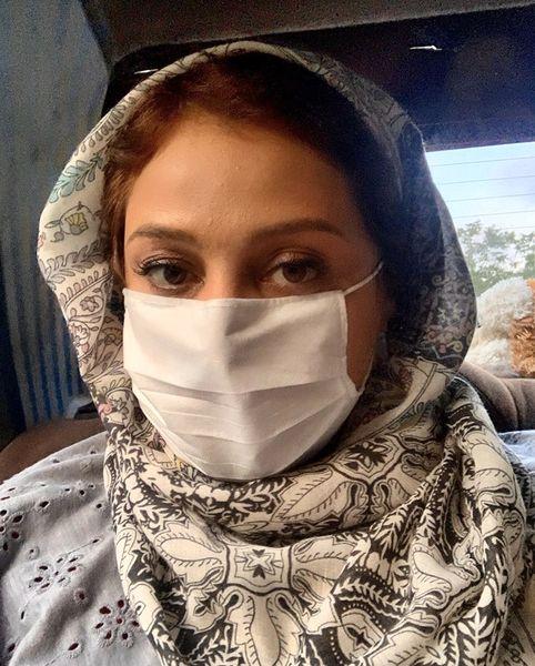 ماسک زدن شبنممقدمی در بیرون + عکس