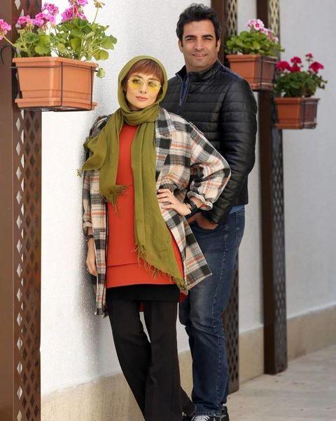 منوچهر هادی در کنار همسر بازیگرش + عکس