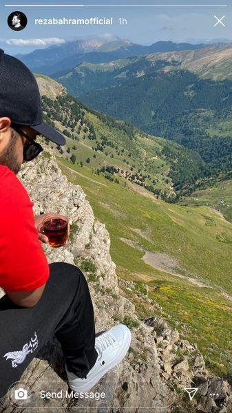 رضا بهرام در ارتفاعات کوهستان سرسبز + هکس