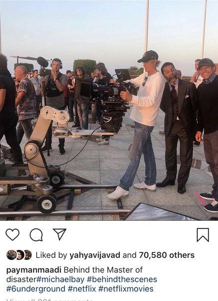 پیمانمعادی در پشت صحنه فیلم آمریکاییش + عکس