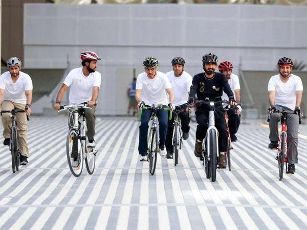 حاکم دبی در حال دوچرخه سواری + عکس