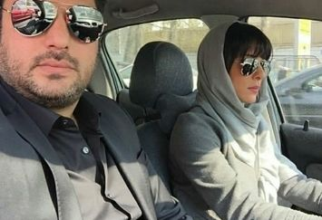 سام درخشانی در ماشین همسرش+عکس