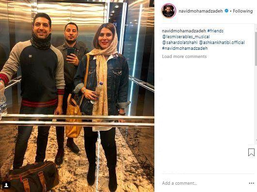 """سلفی آسانسوری """"نوید محمدزاده"""" و """"سحر دولتشاهی"""" /عکس"""