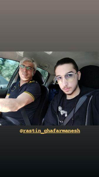 امیرغفارمنش و پسرش در ماشین + عکس
