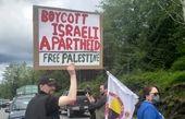جلوگیری حامیان فلسطین از پهلو گرفتن کشتی اسرائیلی در کانادا