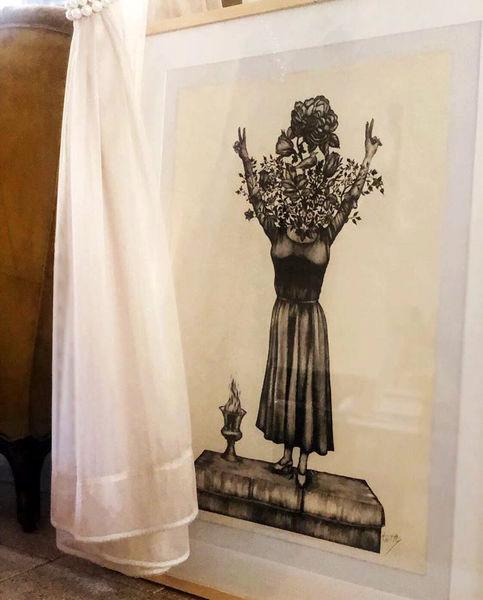 اثر هنری صابر ابر برای دختر آبی+عکس