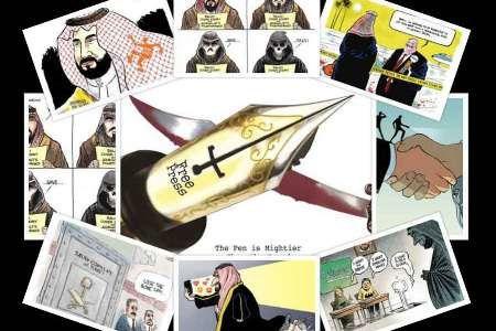 خشونت ودوگانگی بن سلمان وترامپ سوژه کاریکاتوریست های آمریکایی