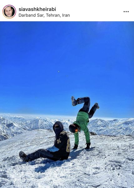 شیطنت های سیاوش خیرابی و دوستش در برف + عکس