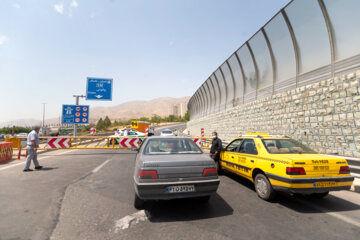 تلاش پلیس برای اعمال قانون منع تردد در آزاد راه تهران شمال + تصویر