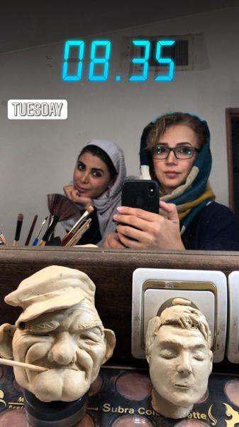 شبنم قلی خانی در اتاق گریم کار جدیدش + عکس