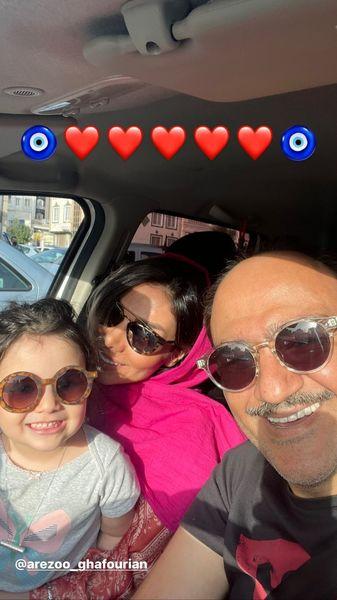 سلفی جدید مهران غفوریان و خانواده اش در ماشین + عکس