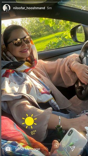 خانم بازیگر جوان در ماشین شخصیش + عکس