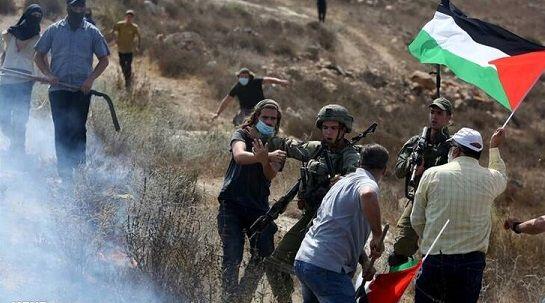 حمله شهرک نشینان صهیونیست به کشاورزان فلسطینی