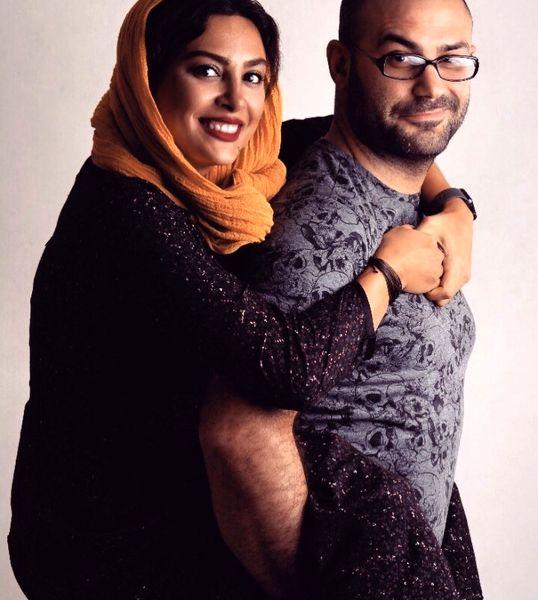 عکس عاشقانه حدیثه تهرانی و همسرش