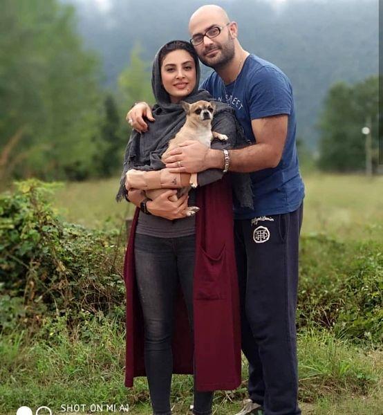 گردش حدیثه تهرانی و همسرش با حیوان خانگی شان+عکس